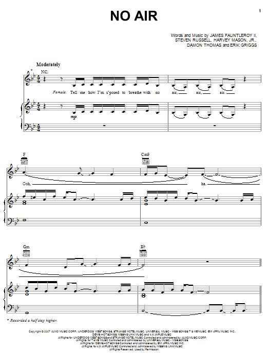 No Air sheet music