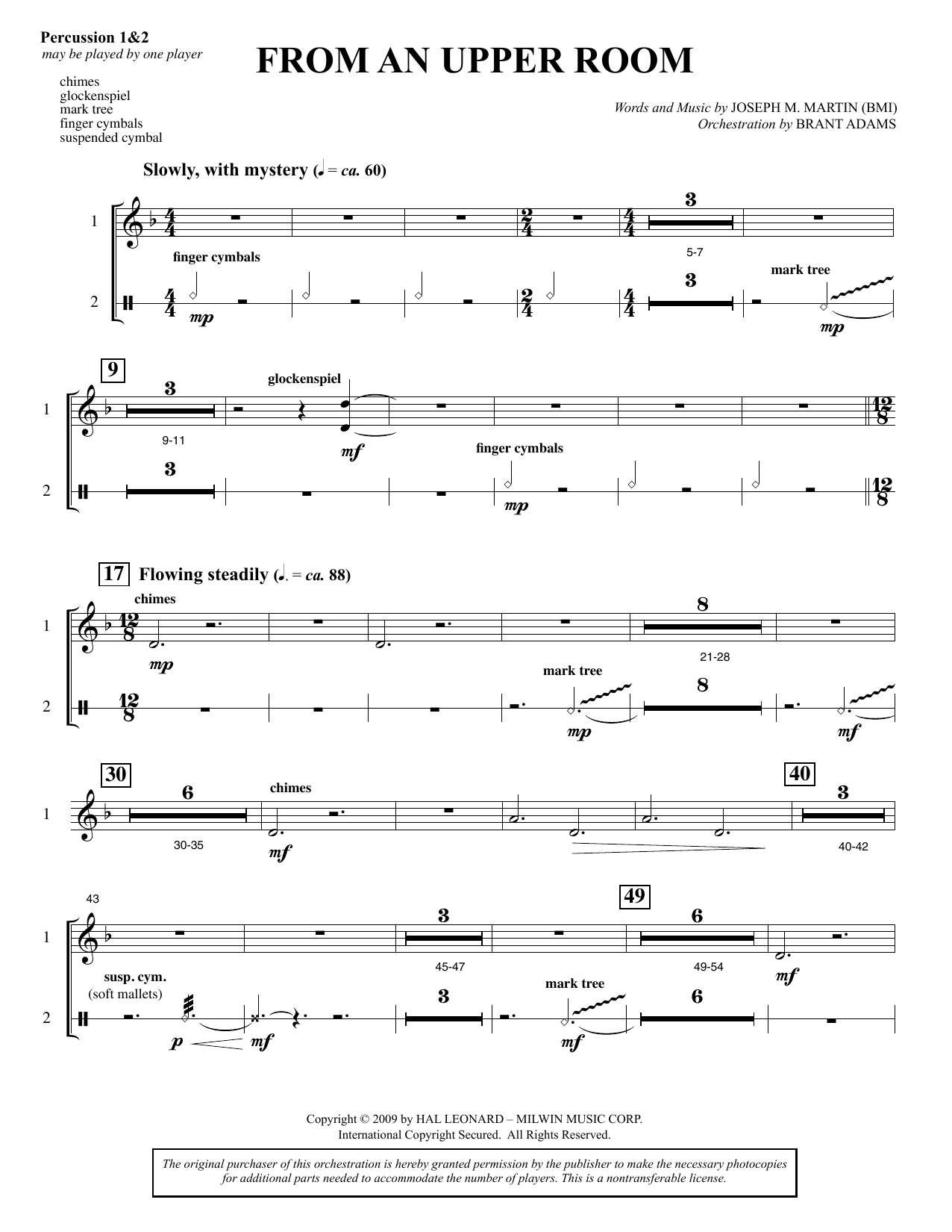 From An Upper Room (from Lenten Sketches) - Percussion sheet music