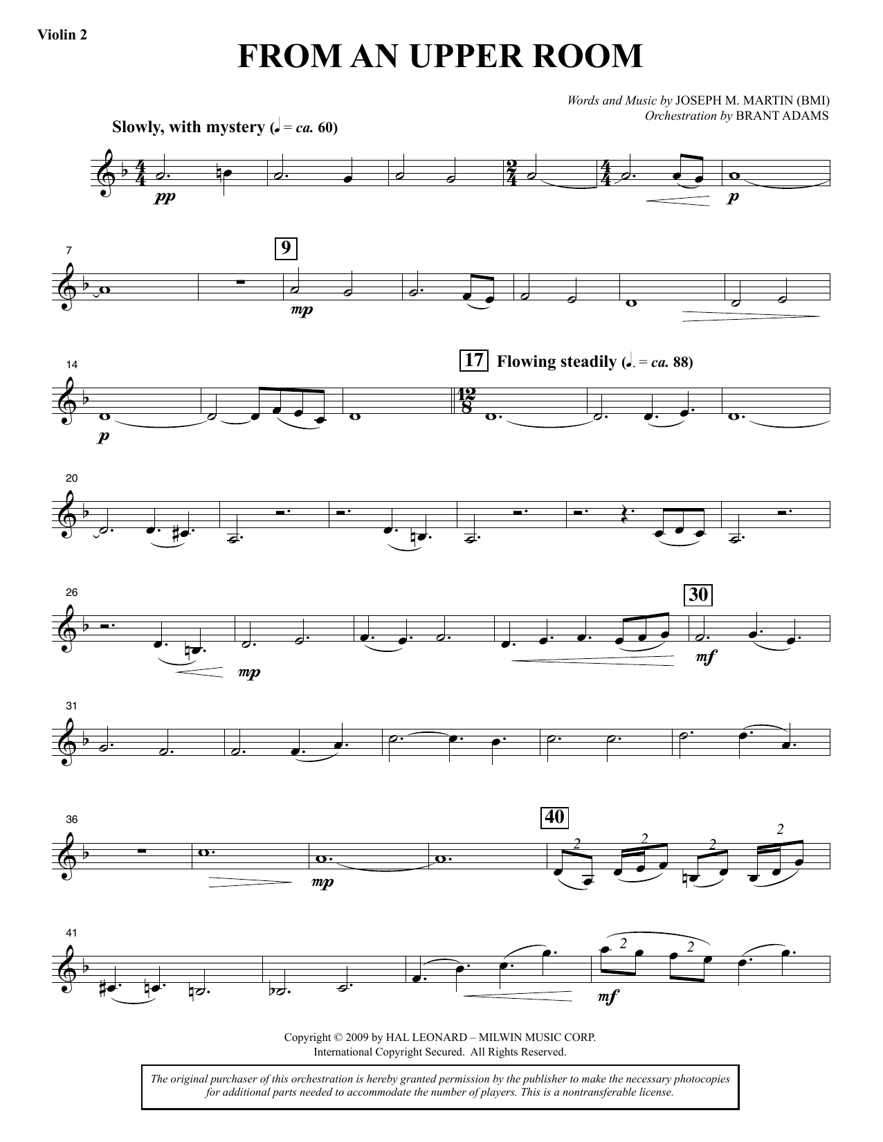 From An Upper Room (from Lenten Sketches) - Violin 2 sheet music