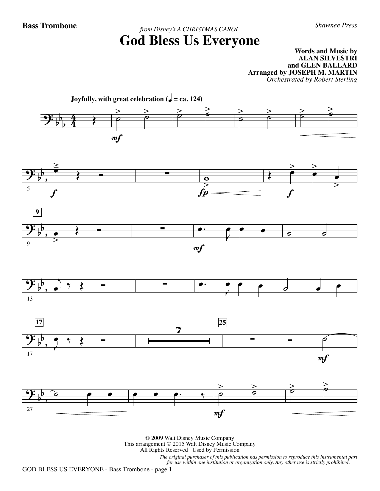 God Bless Us Everyone (from Disney's A Christmas Carol) - Bass Trombone sheet music