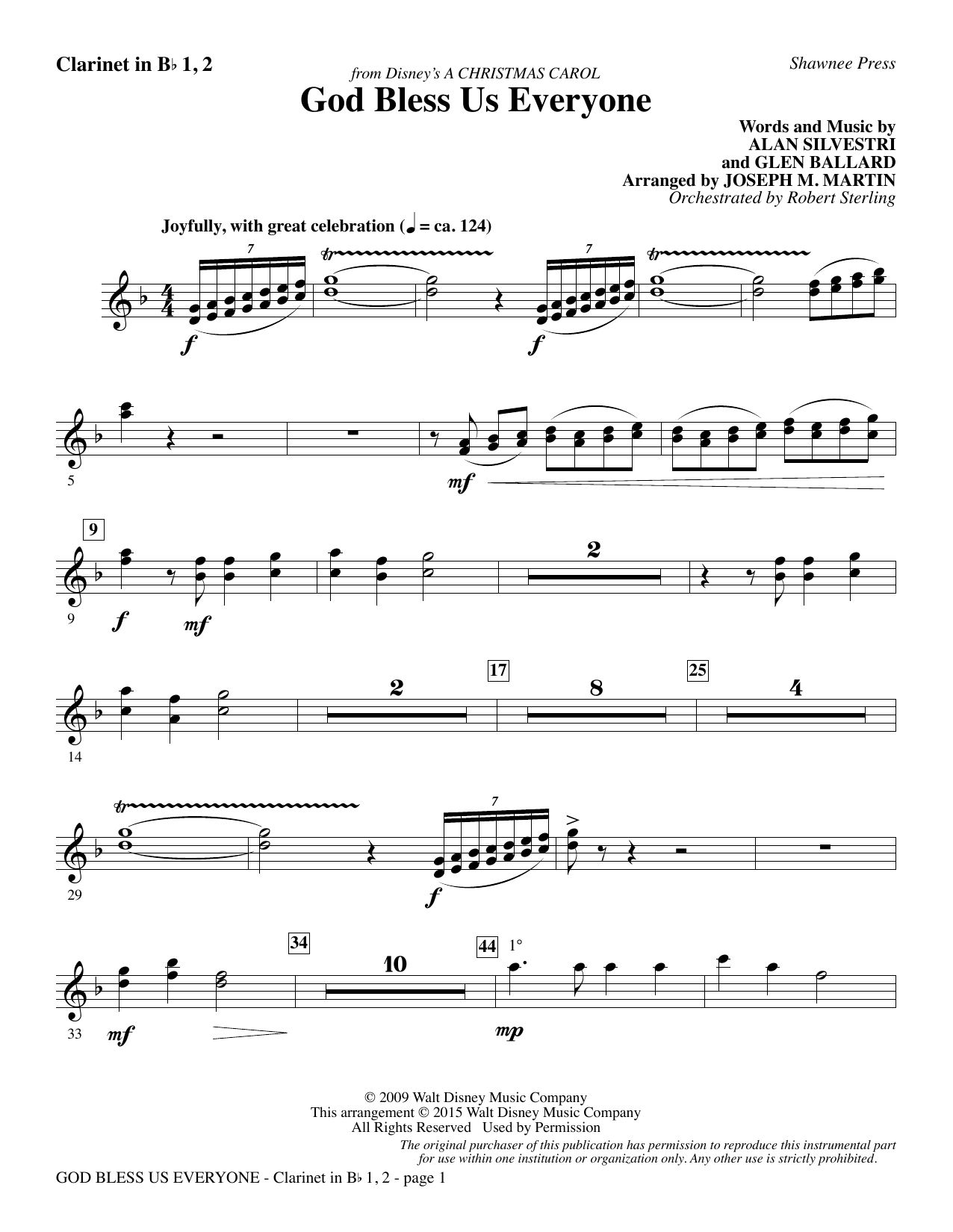 God Bless Us Everyone (from Disney's A Christmas Carol) - Bb Clarinet 1 & 2 sheet music