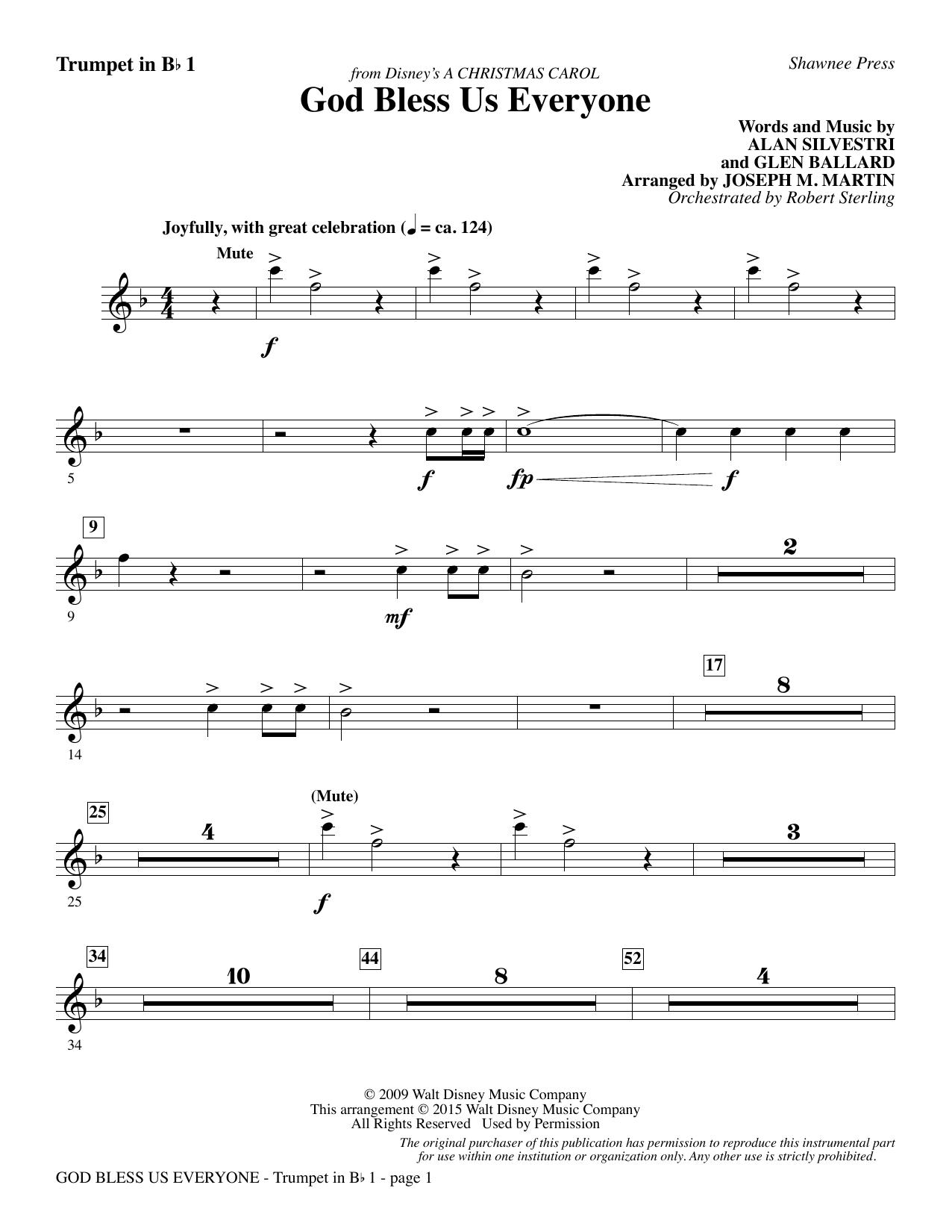 God Bless Us Everyone (from Disney's A Christmas Carol) - Bb Trumpet 1 sheet music