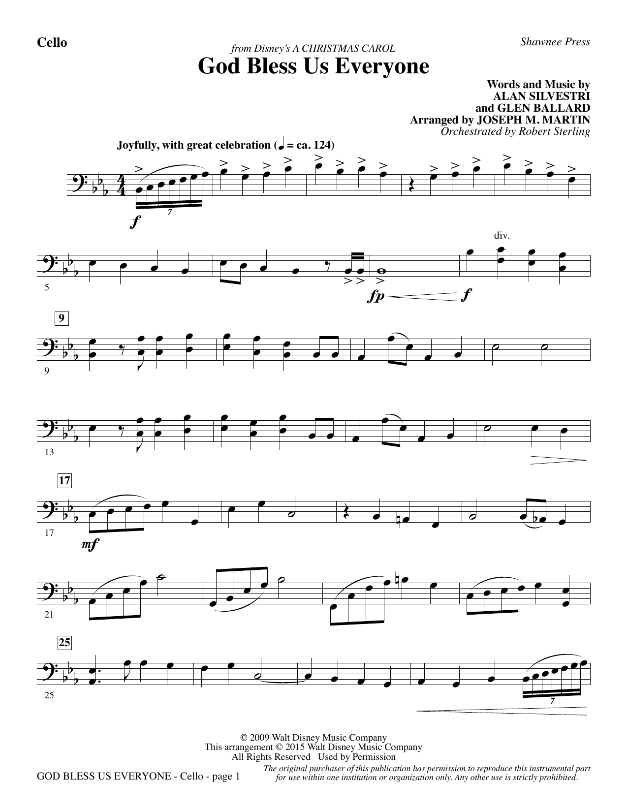 God Bless Us Everyone (from Disney's A Christmas Carol) - Cello sheet music