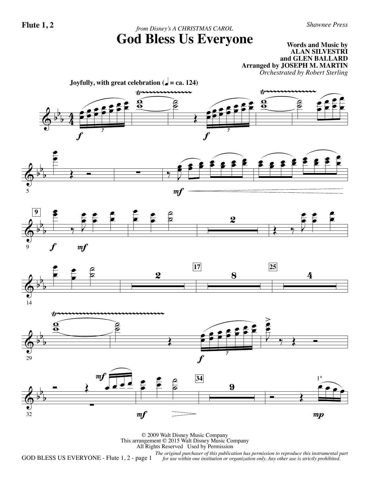 God Bless Us Everyone (from Disney's A Christmas Carol) - Flute 1 & 2 sheet music