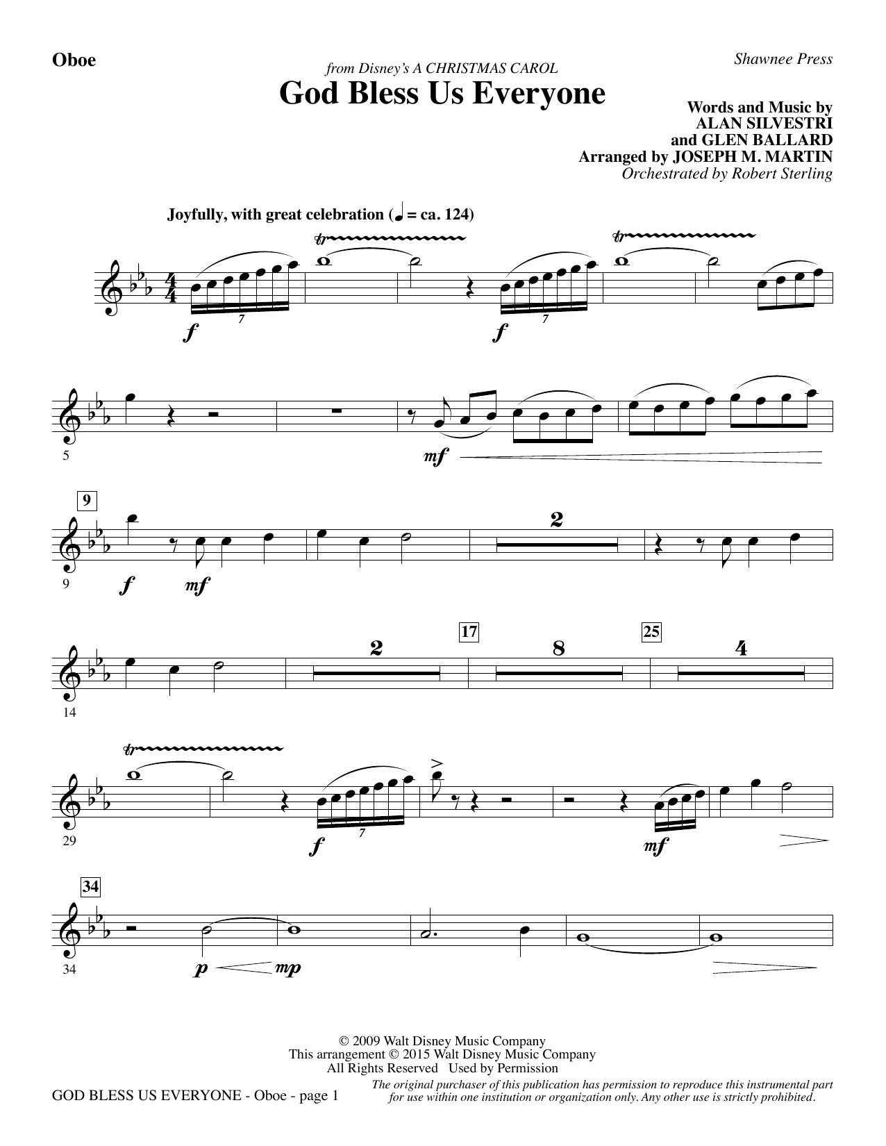 God Bless Us Everyone (from Disney's A Christmas Carol) - Oboe sheet music