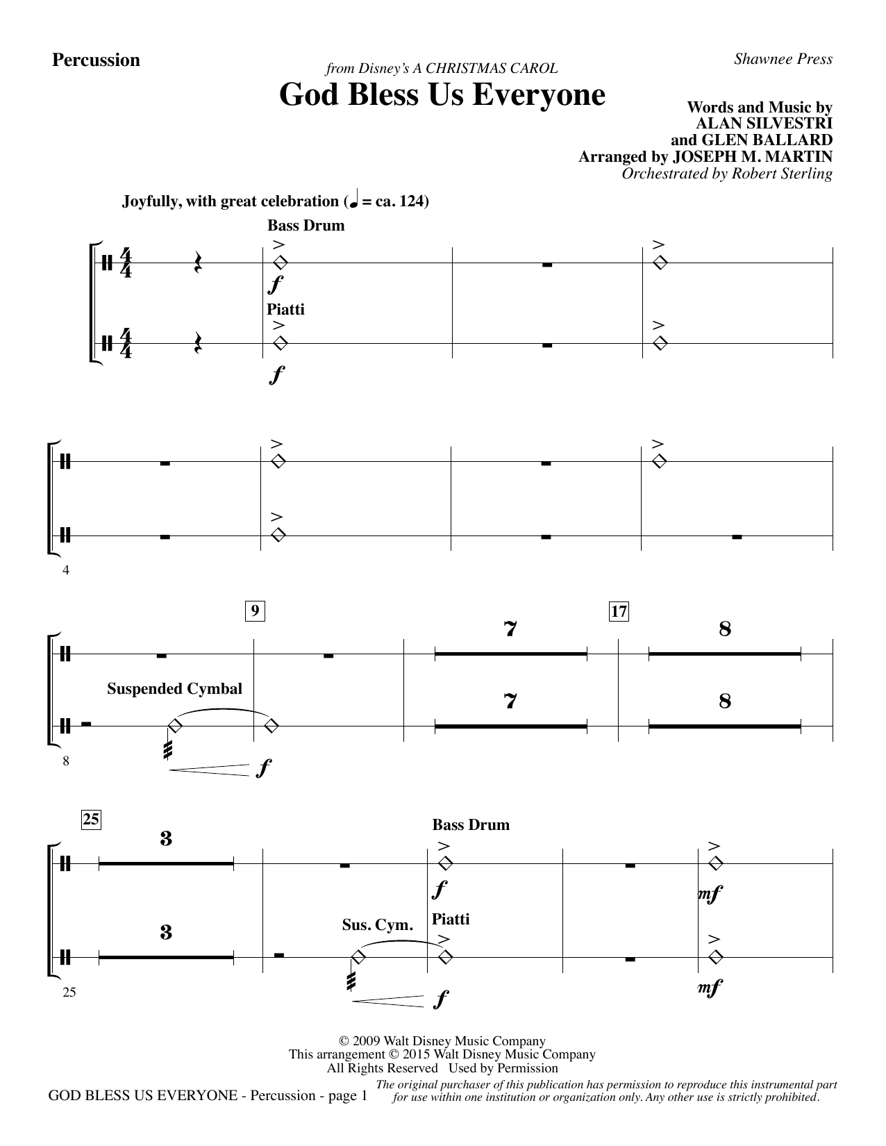 God Bless Us Everyone (from Disney's A Christmas Carol) - Percussion sheet music