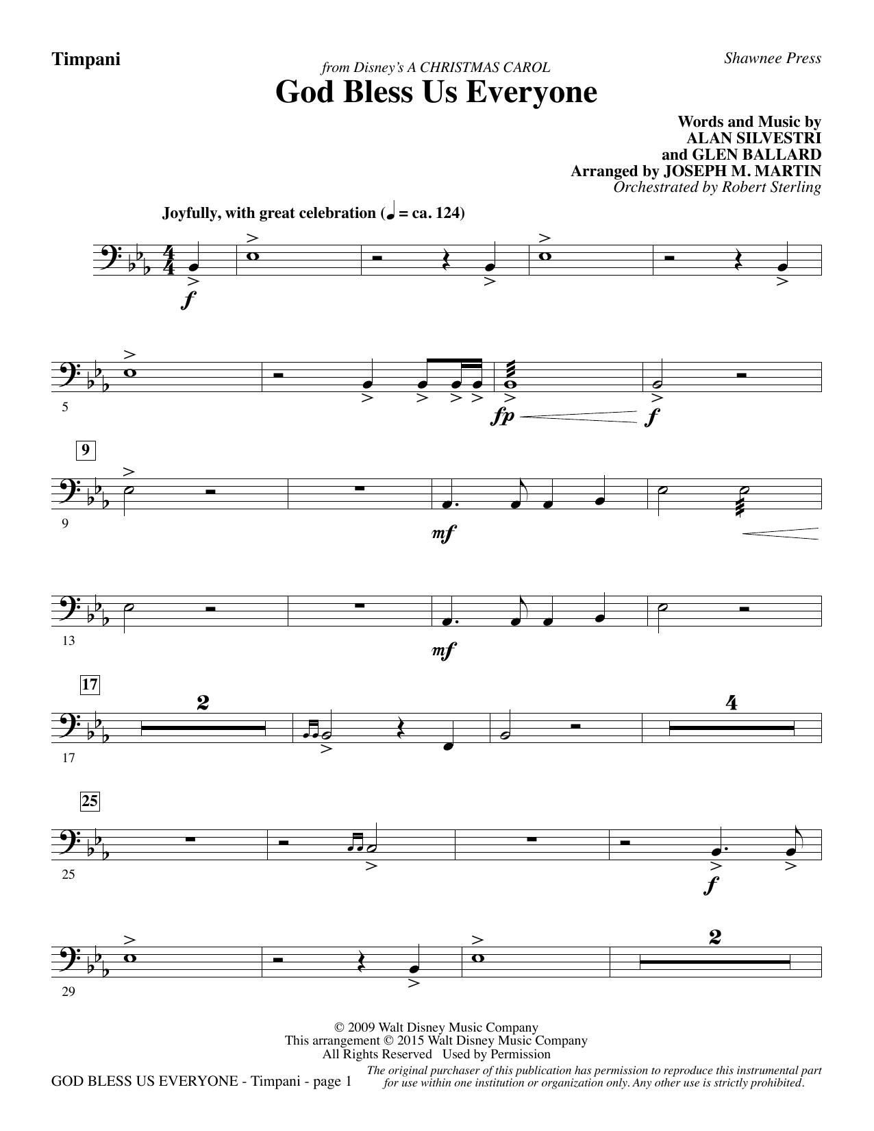 God Bless Us Everyone (from Disney's A Christmas Carol) - Timpani sheet music