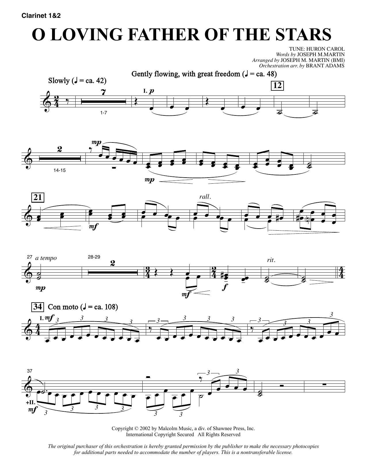 O Loving Father Of The Stars (from Morning Star) - Bb Clarinet 1 & 2 sheet music