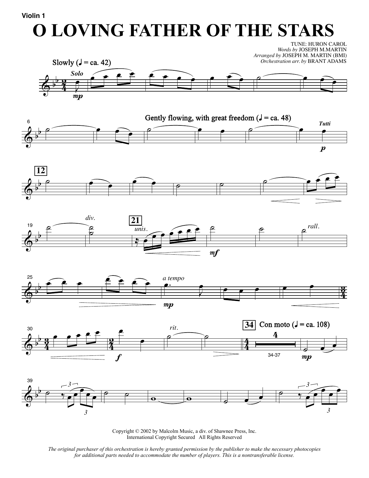 O Loving Father Of The Stars (from Morning Star) - Violin 1 sheet music