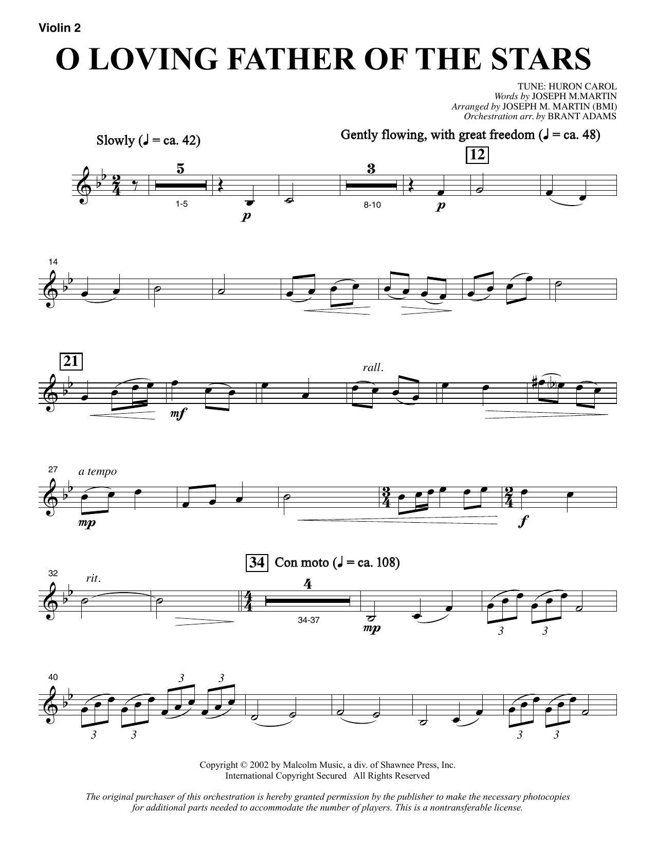 O Loving Father Of The Stars (from Morning Star) - Violin 2 sheet music