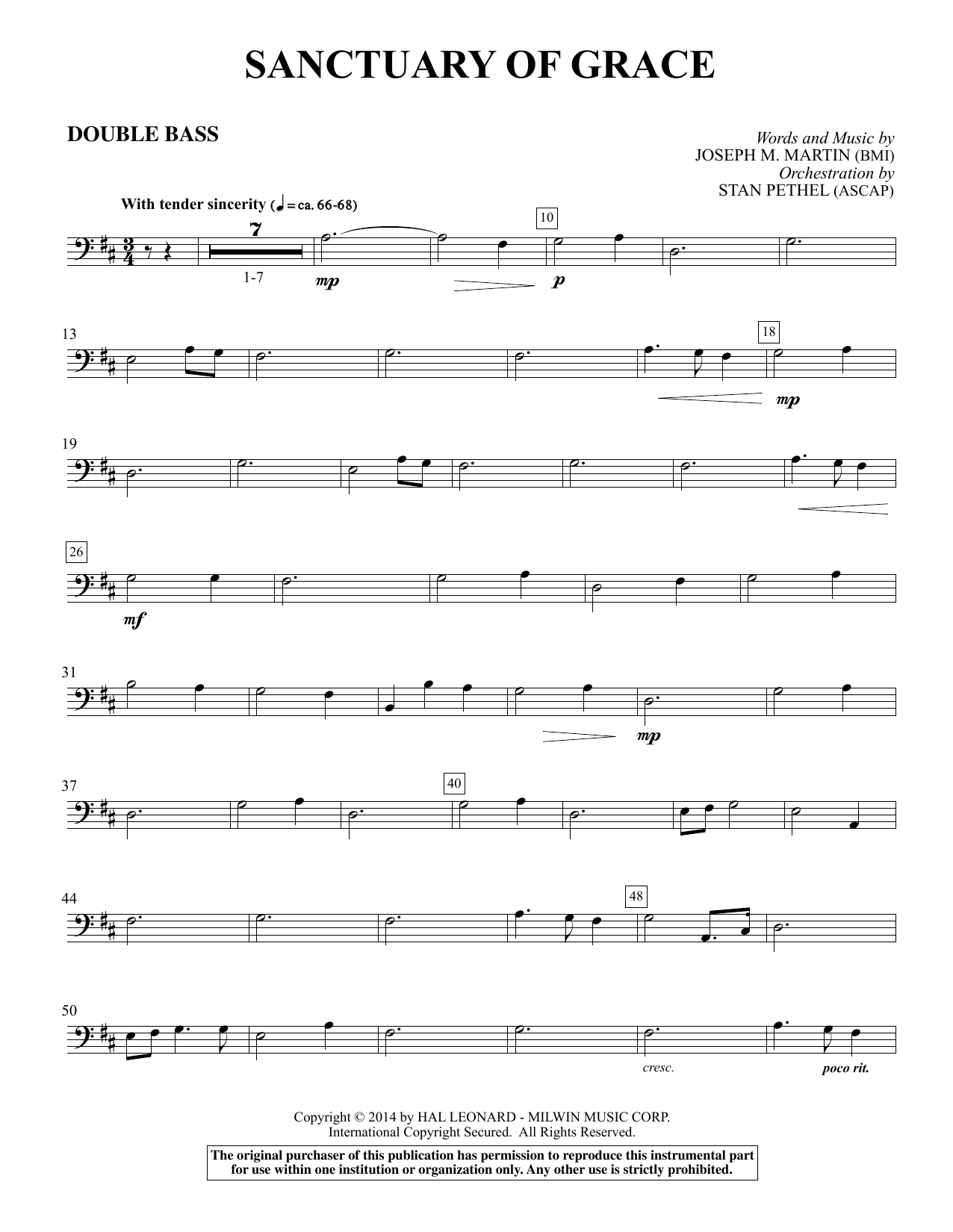Sanctuary Of Grace (from Sanctuary) - Double Bass sheet music