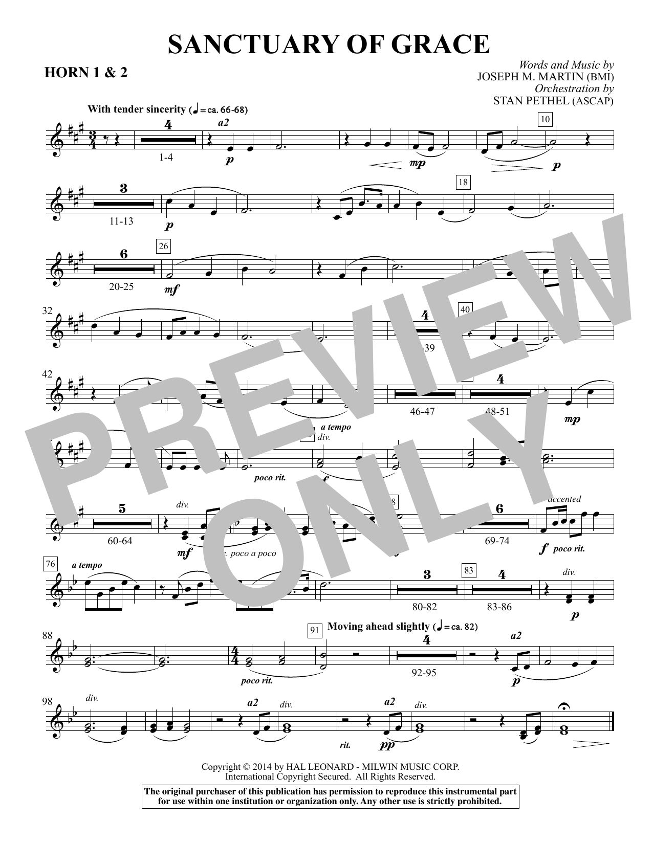 Sanctuary Of Grace (from Sanctuary) - F Horn 1,2 sheet music