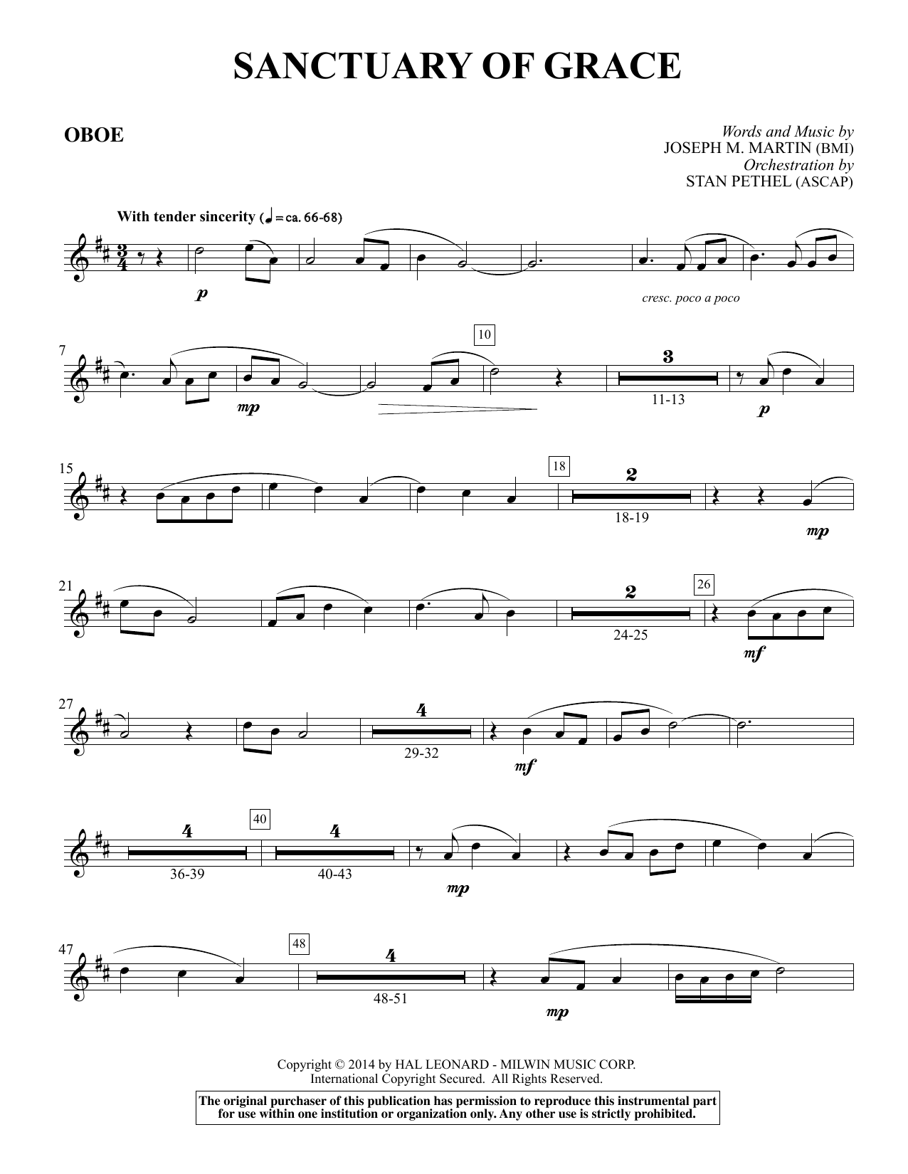 Sanctuary Of Grace (from Sanctuary) - Oboe sheet music