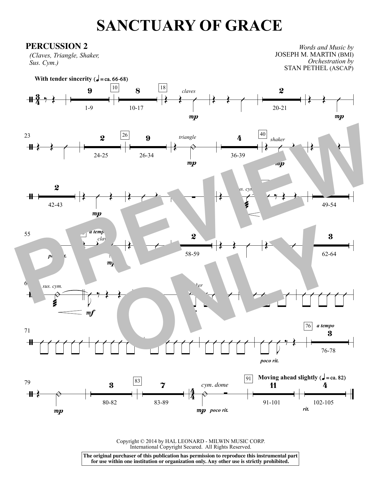 Sanctuary Of Grace (from Sanctuary) - Percussion 2 sheet music