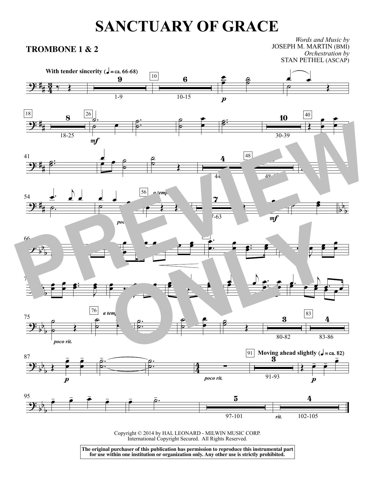 Sanctuary Of Grace (from Sanctuary) - Trombone 1 & 2 sheet music