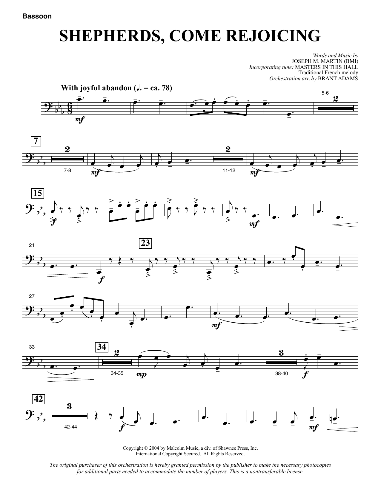 Shepherds, Come Rejoicing (from Voices Of Christmas) - Bassoon sheet music