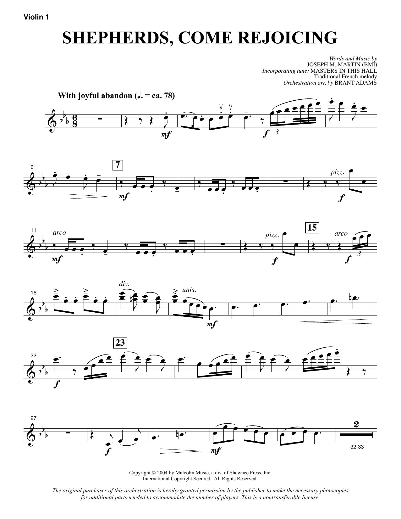 Shepherds, Come Rejoicing (from Voices Of Christmas) - Violin 1 sheet music