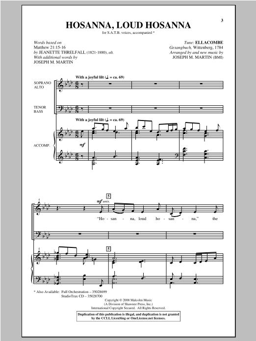 Hosanna, Loud Hosanna sheet music
