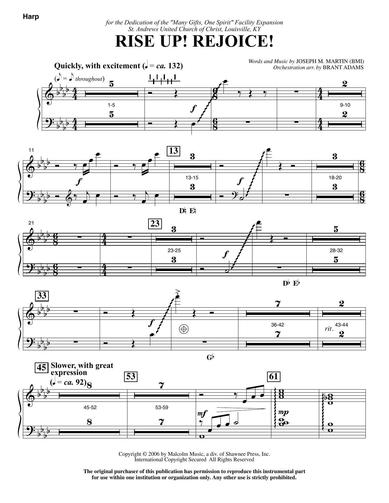 Rise Up! Rejoice! (from Footprints In The Sand) - Harp sheet music