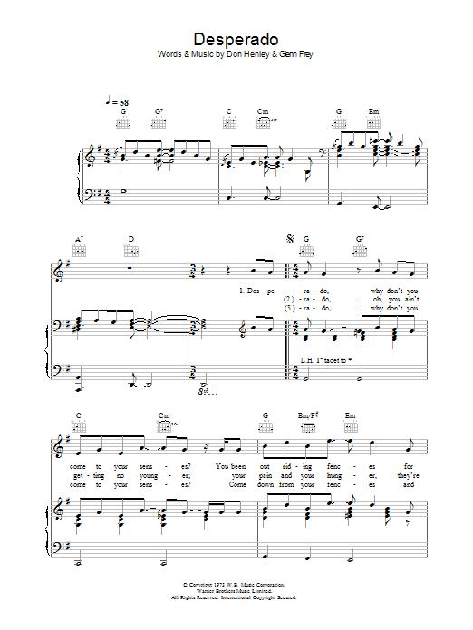 Desperado sheet music