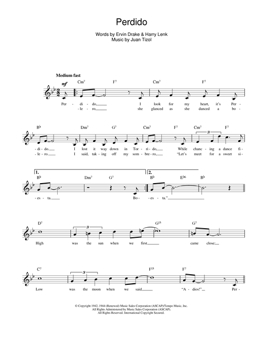 Perdido sheet music
