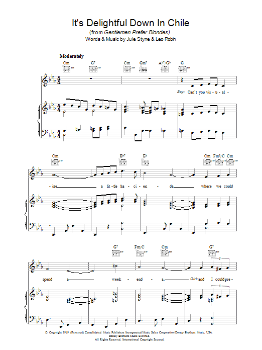 It's Delightful Down In Chile sheet music