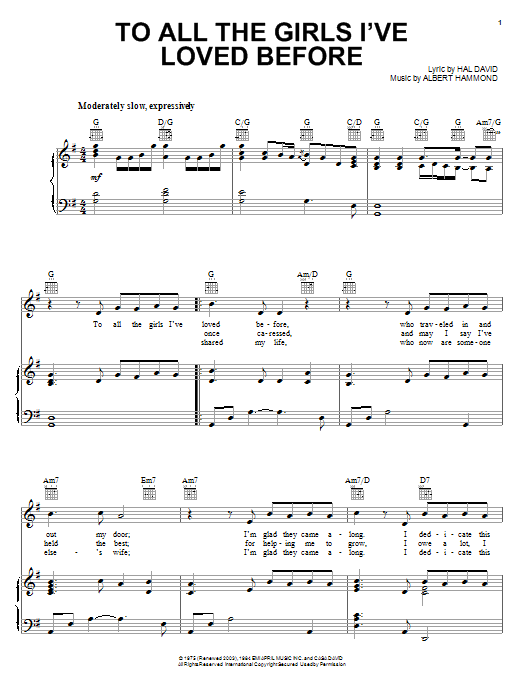 To All The Girls I've Loved Before sheet music