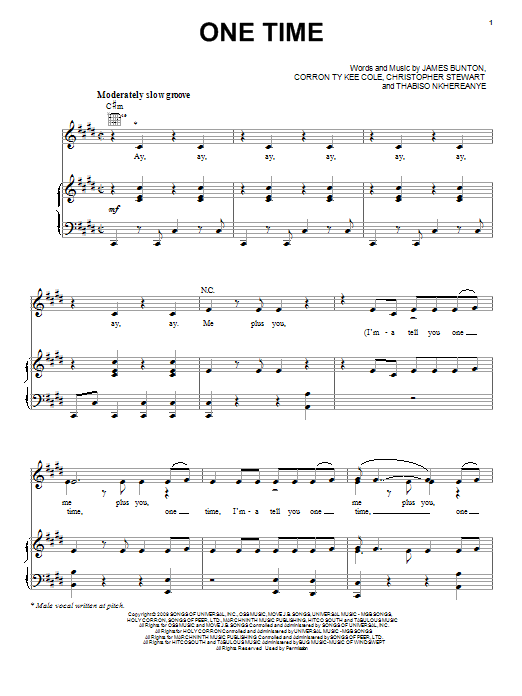 One Time sheet music