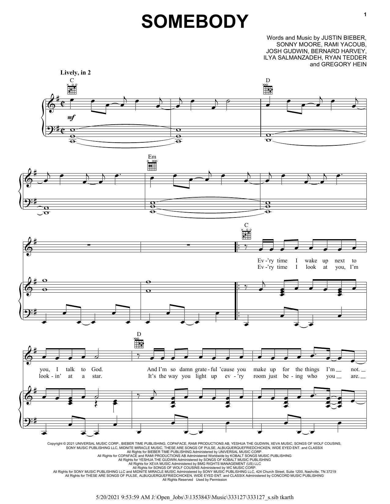 Somebody sheet music