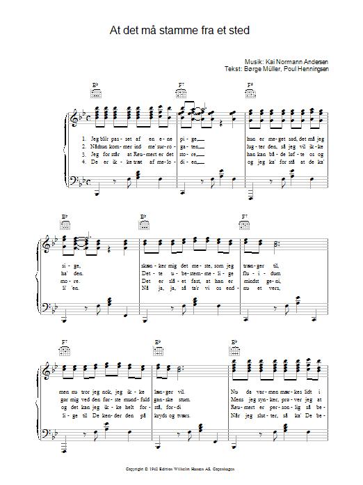 At Det Må Stamme Fra Et Sted sheet music