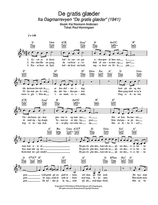 De Gratis Glæder sheet music