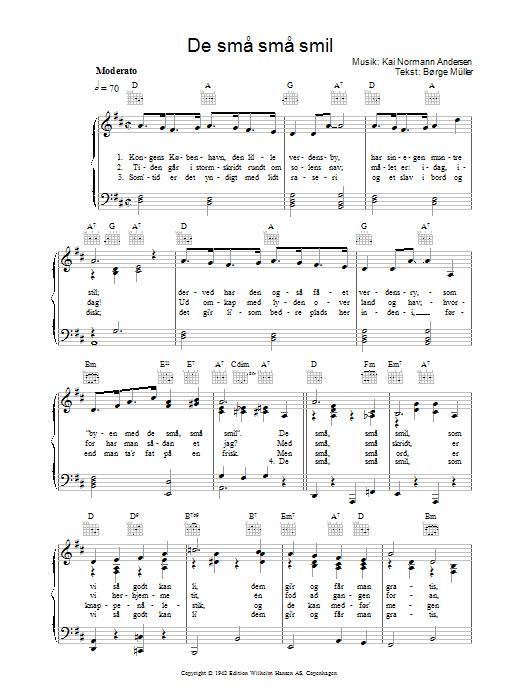 De Små Små Smil sheet music