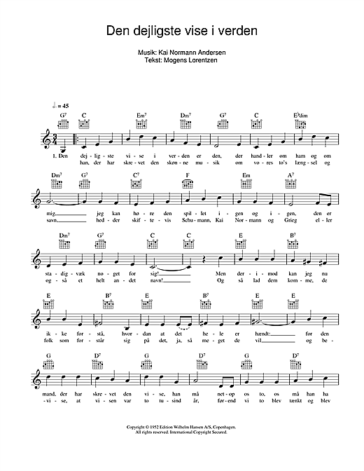 Den Dejligste Vise I Verden sheet music