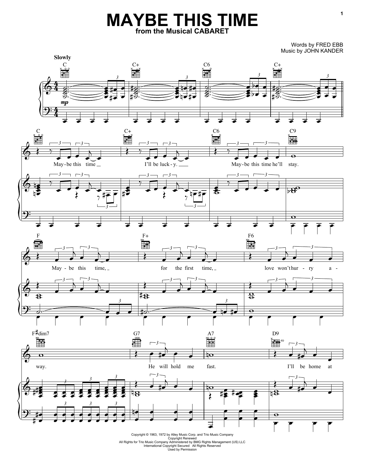 Maybe This Time sheet music