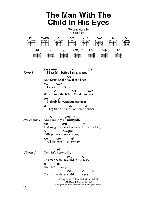 The Man With The Child In His Eyes sheet music