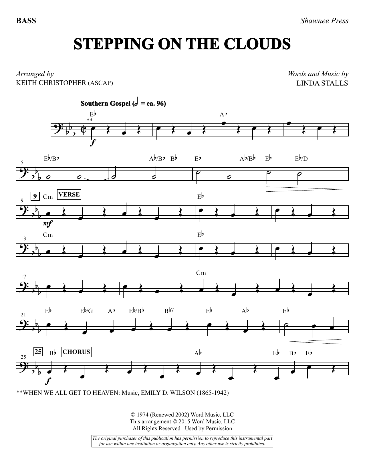 Stepping on the Clouds - Bass sheet music