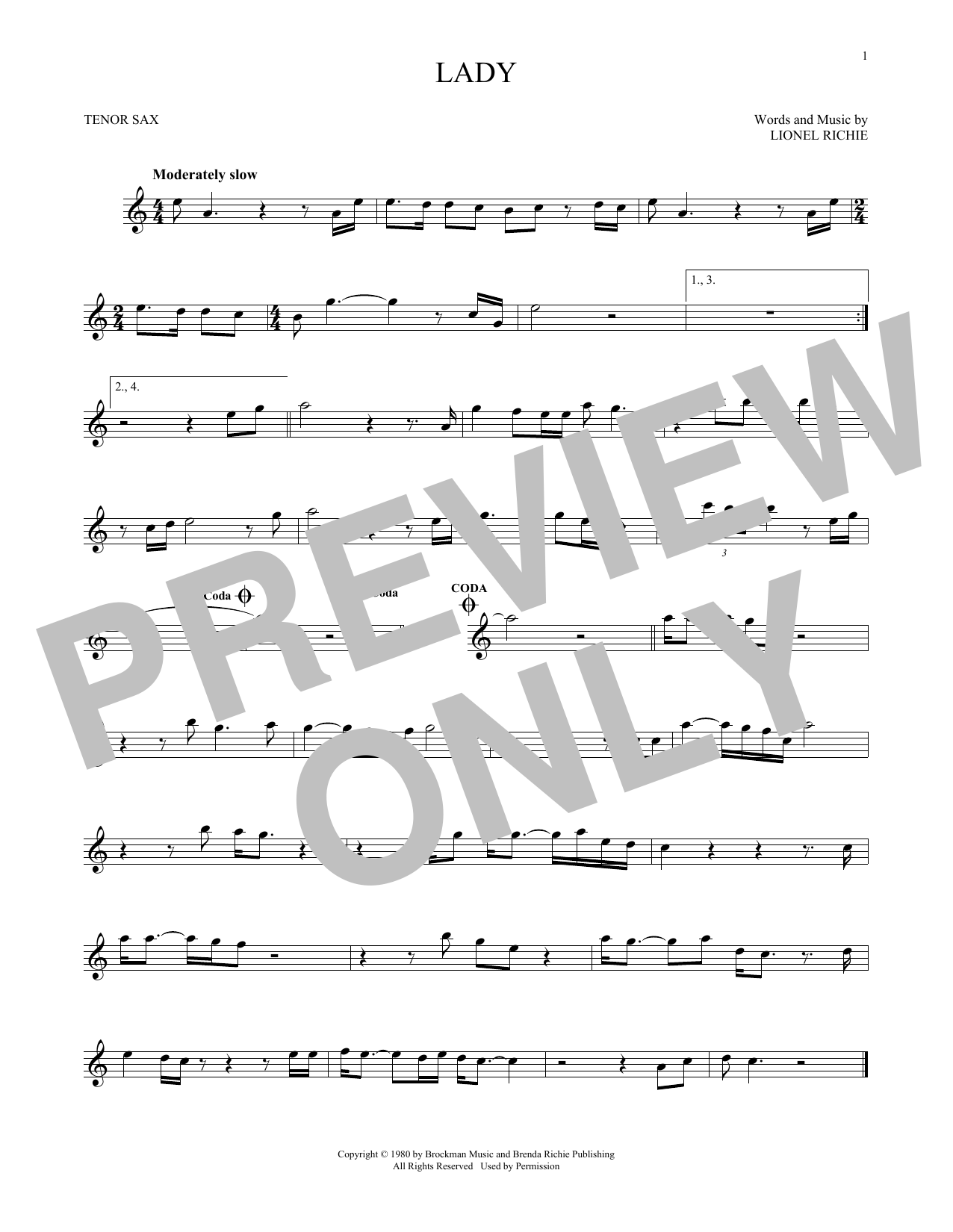 Kenny Rogers Lady Sheet Music Download Pdf Score 187631