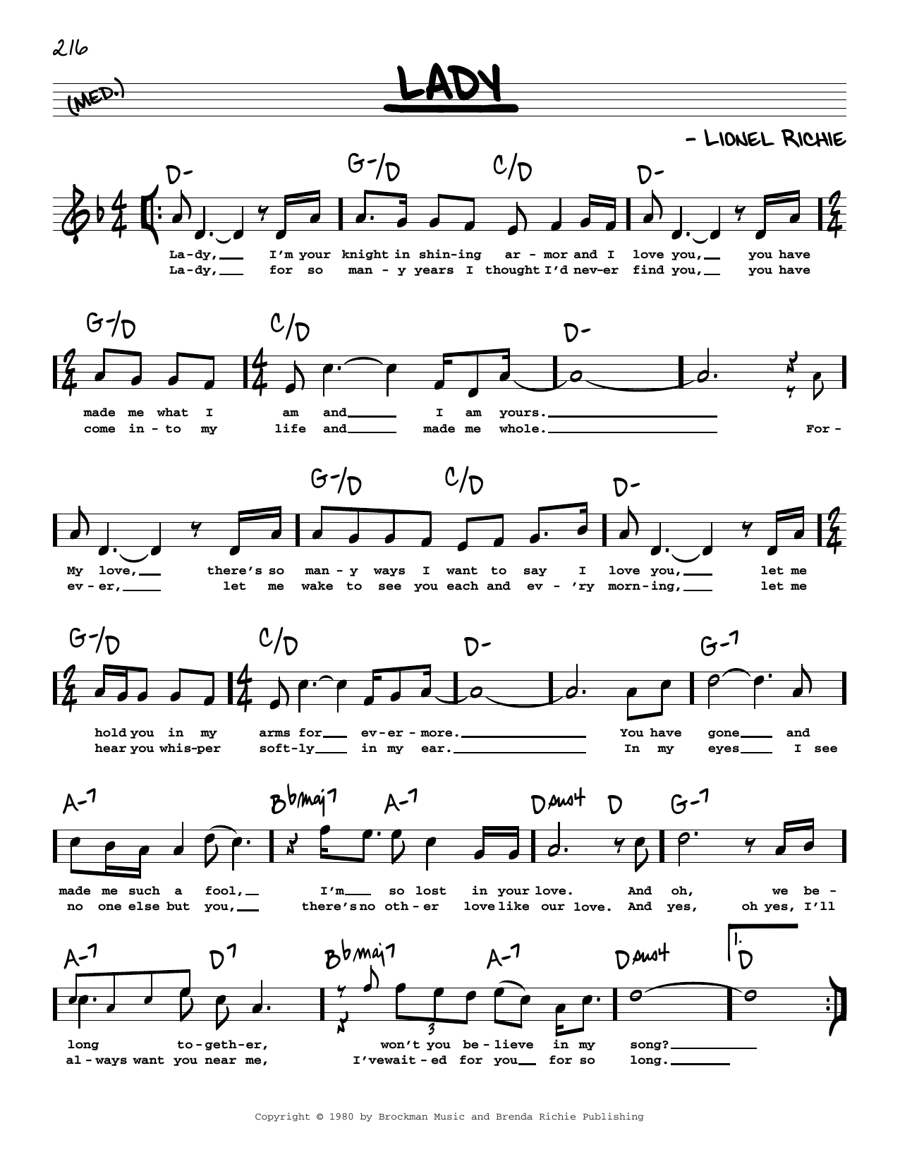 Kenny Rogers Lady High Voice Sheet Music Notes Download Pdf Score Printable