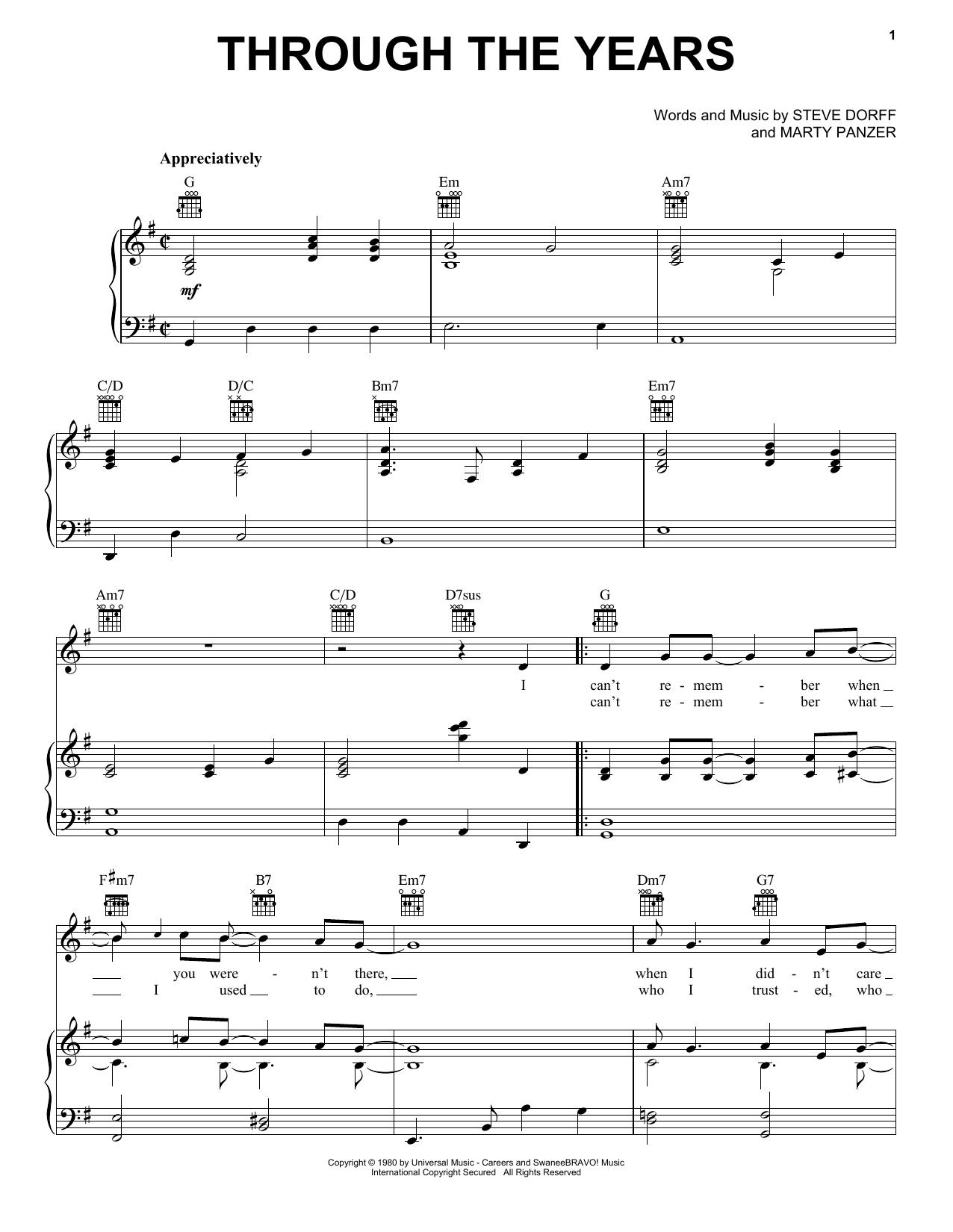 Through The Years sheet music