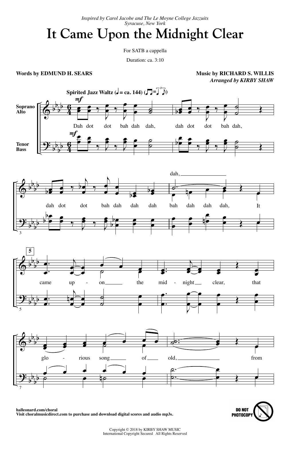 Kirby Shaw 'It Came Upon The Midnight Clear' Sheet Music Notes, Chords    Download Printable SATB   SKU 15