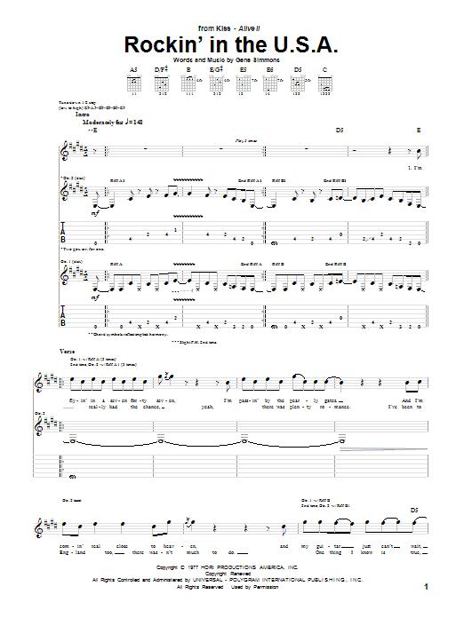 Rockin' In The U.S.A. sheet music
