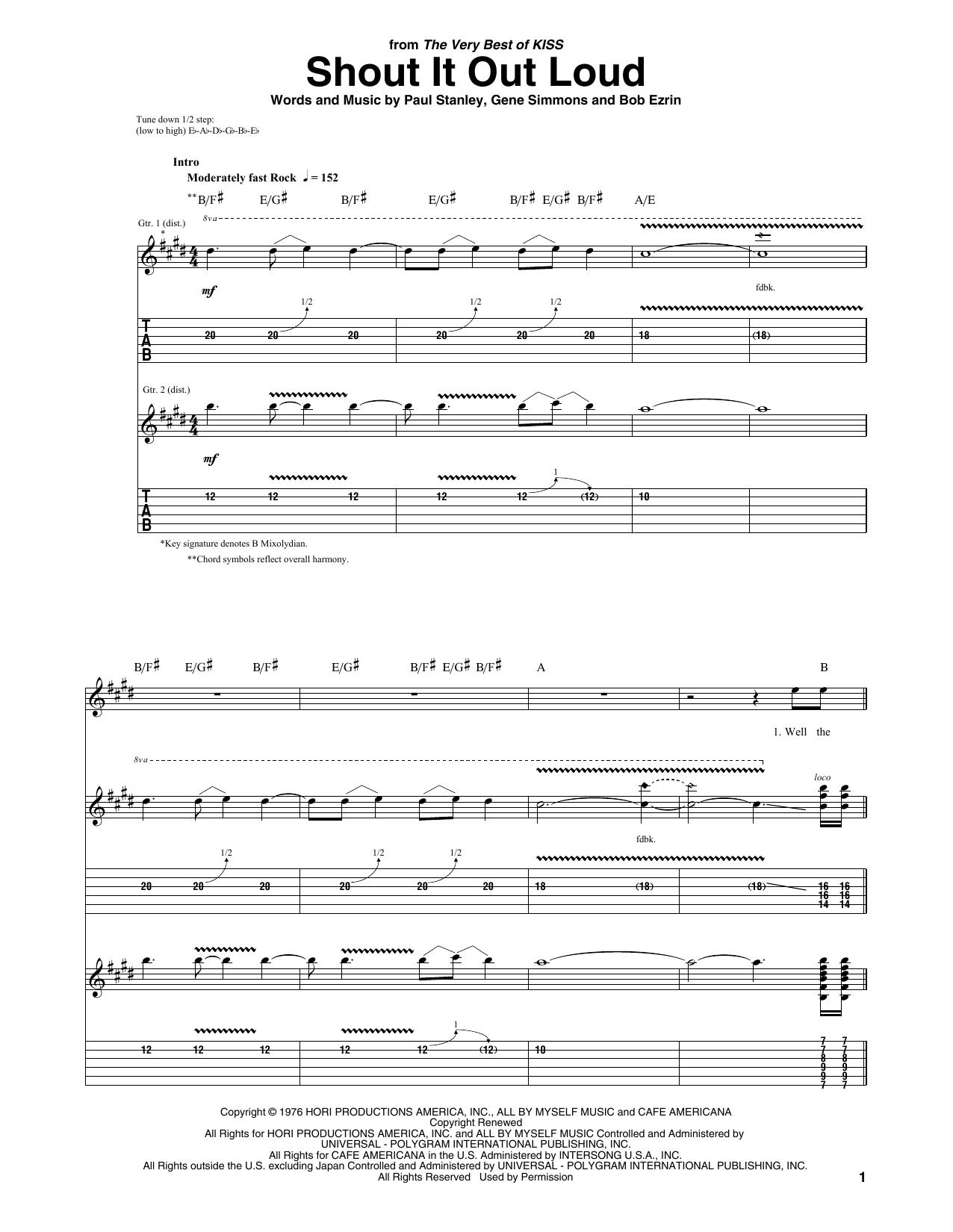 Shout It Out Loud sheet music