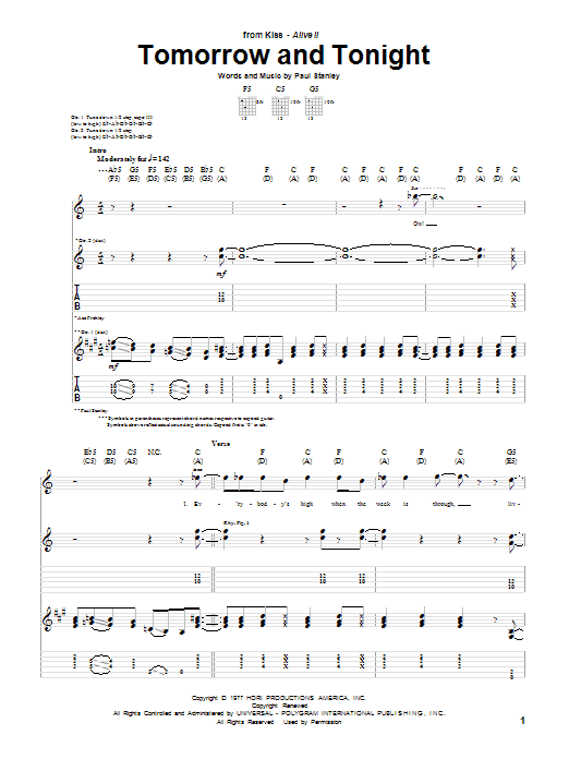 Tomorrow And Tonight sheet music