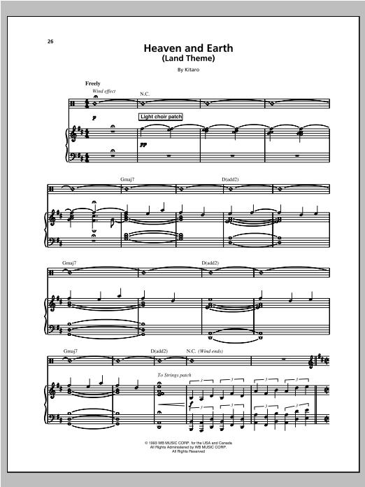 Heaven And Earth (Land Theme) sheet music