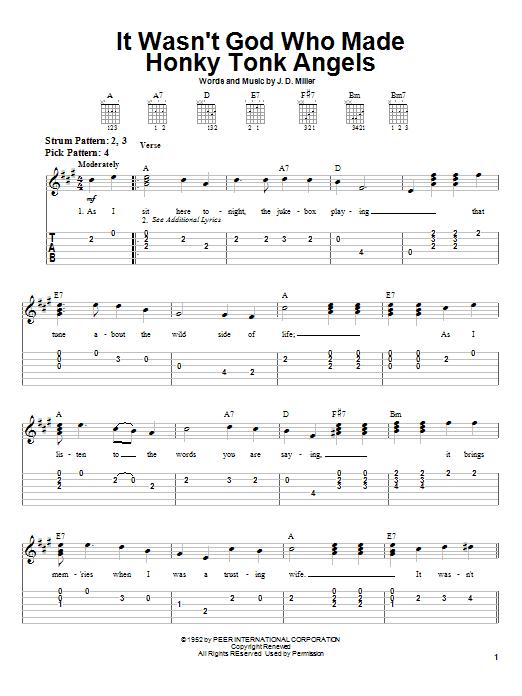 It Wasn't God Who Made Honky Tonk Angels sheet music