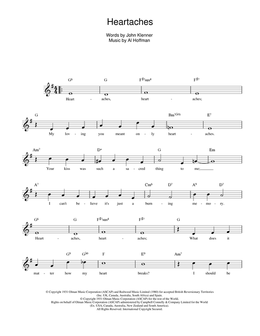 Heartaches sheet music