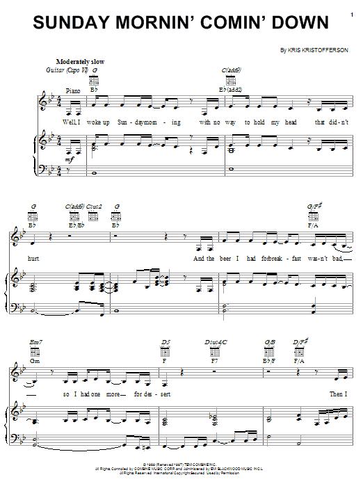 Sunday Mornin' Comin' Down sheet music