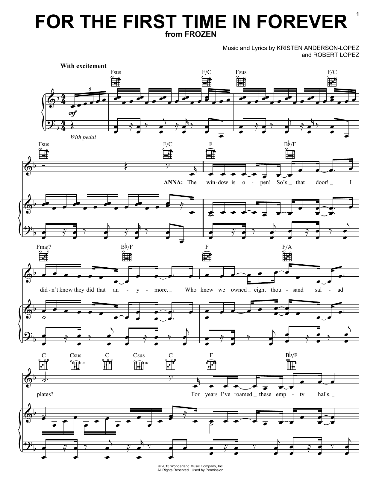 For The First Time In Forever (from Disney's Frozen) sheet music