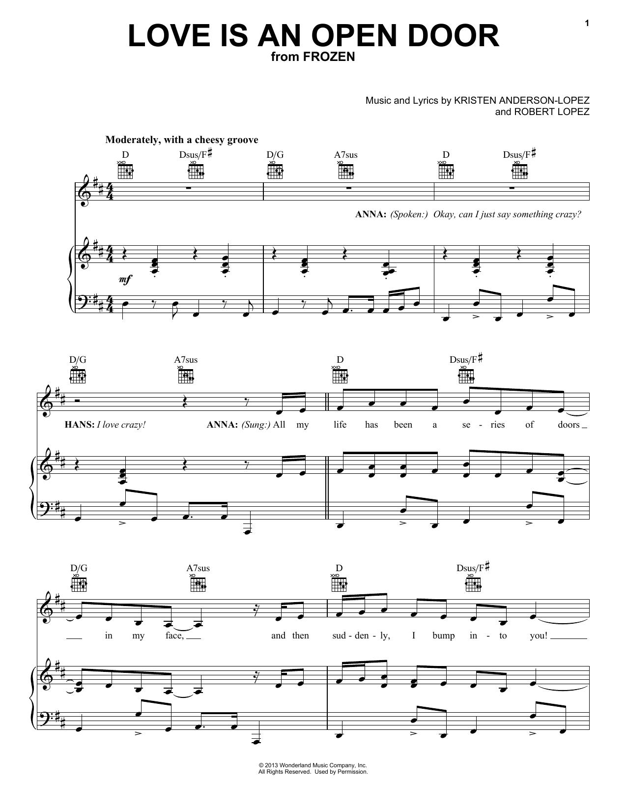 Kristen Bell & Santino Fontana 'Love Is An Open Door from Disney's  Frozen' Sheet Music Notes, Chords   Download Printable Trombone   SKU  15