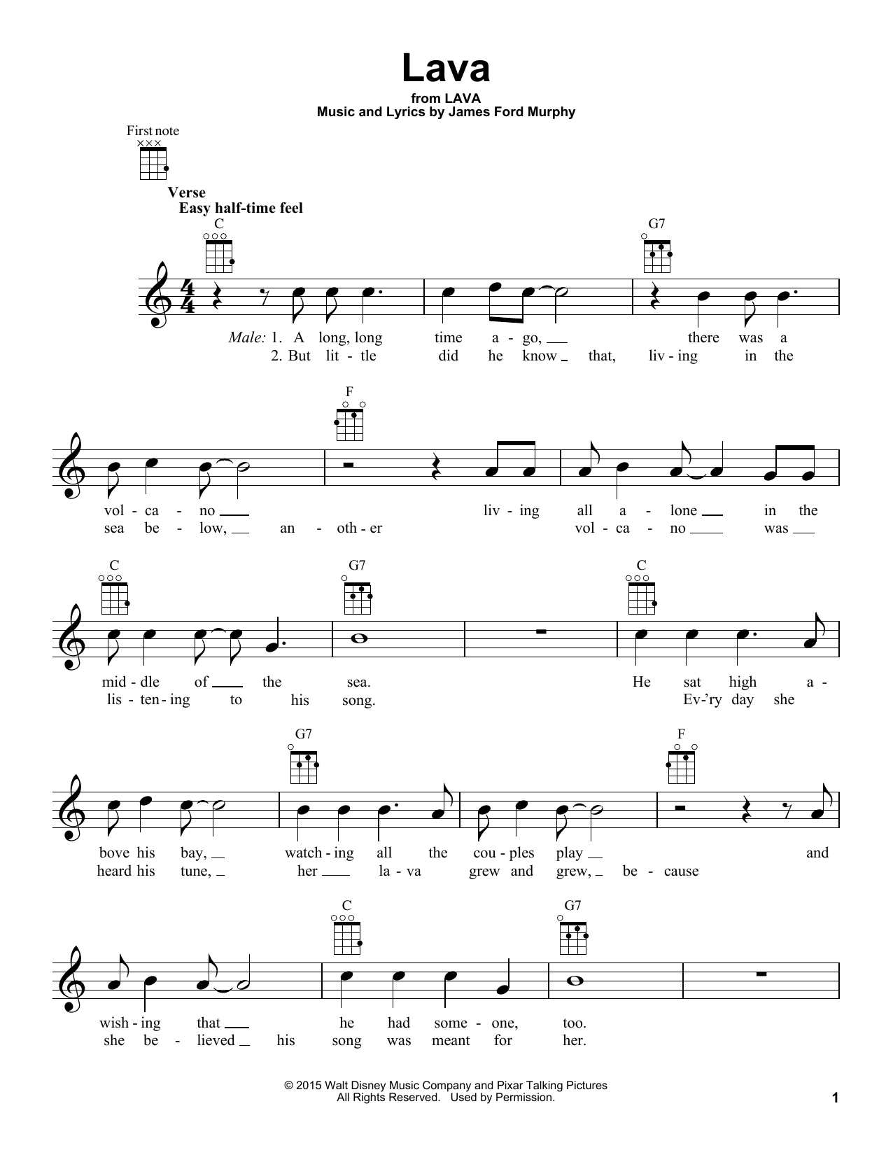 Lava sheet music